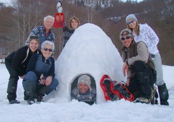 week-end famille raquettes et igloo